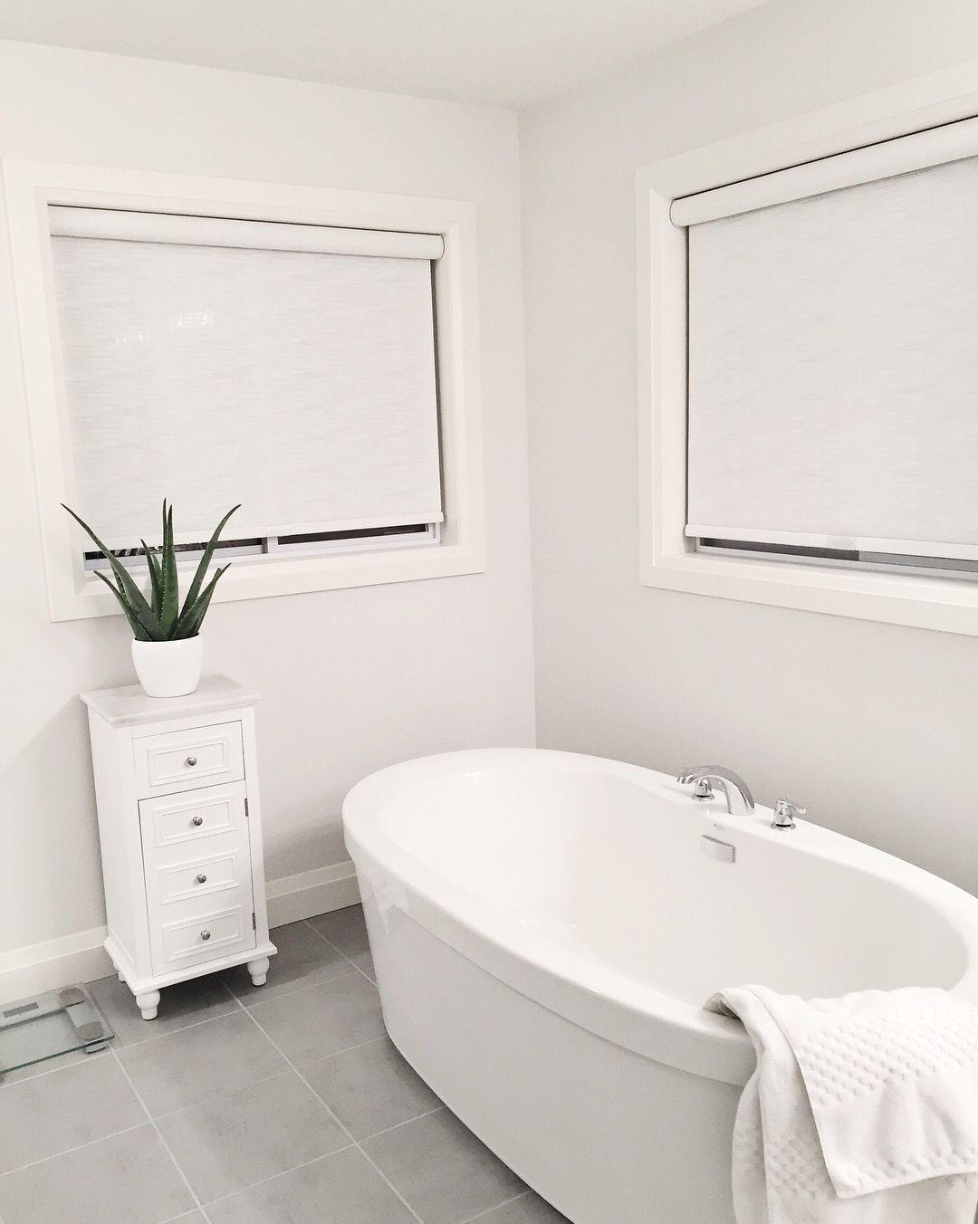 Minimalist bathroom decor, white bathroom, grey and white bathroom ...