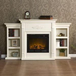 White Antique Wood Electric Fireplace Mantle Media Heater Lcd Tv Storage Stand Ebay