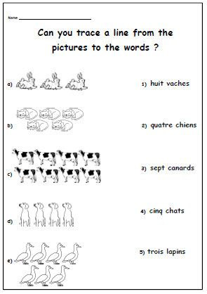 teacher worksheet to learn numbers animals in french kids activity printable language. Black Bedroom Furniture Sets. Home Design Ideas