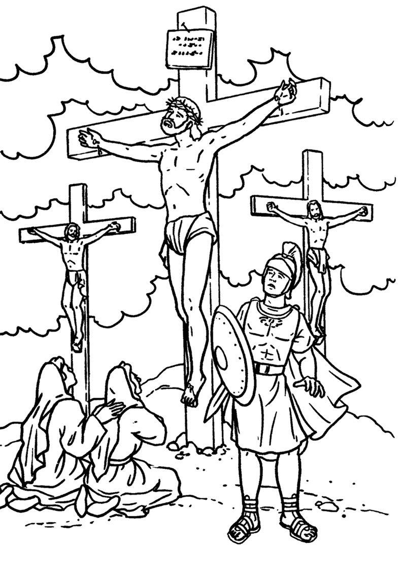 Jesus é crucificado: Marcos 4.  Jesus coloring pages, Cross