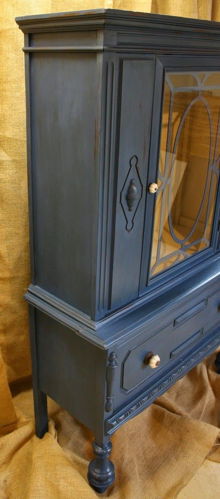 Roots And Wings Furniture Blog: No. 70 Blue And Cream Antique Hutch.