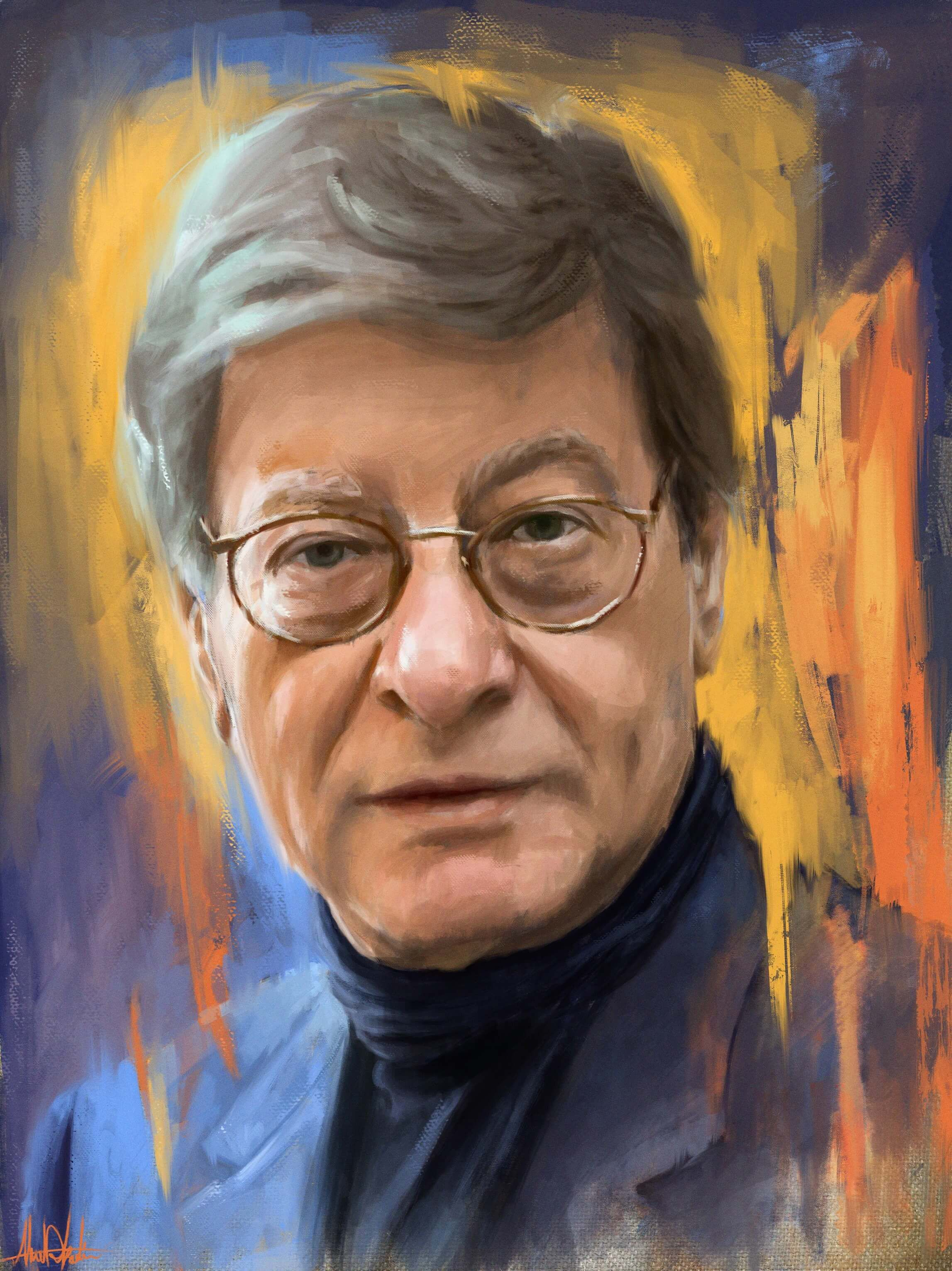 Painting Portrait For Mahmoud Darwish With Colorful Background