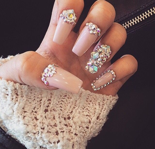 Nude Diamonds Nails Pinterest Nude Prom Nails And Acrylic