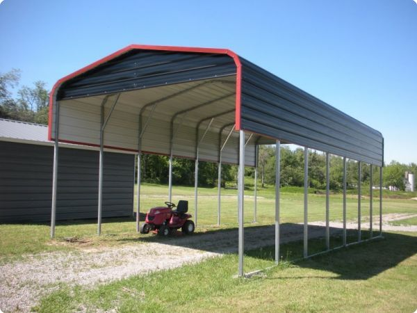 This Regular Style Carport Is Perfect To Shelter Your Camper Or Travel Trailer It Features Additional Coverage O Metal Rv Carports Rv Carports Metal Buildings