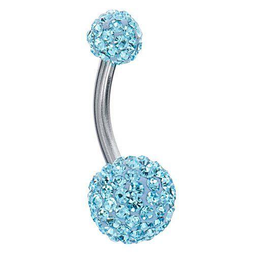 outlet for sale wide selection of colors sleek Swarovski Belly Ring Swarovski Crystal Stones Double Gem ...