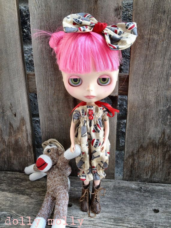 dolly molly SOCK MONKEY  romper and bow for BLYTHE by dollymolly, $18.00