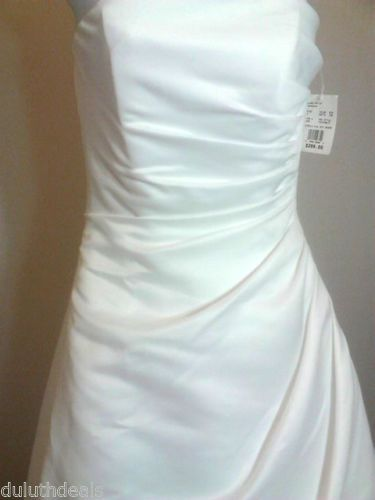 David Bridal Michaelangelo Wedding Dress Strapless Satin Drape T8076 Size 4