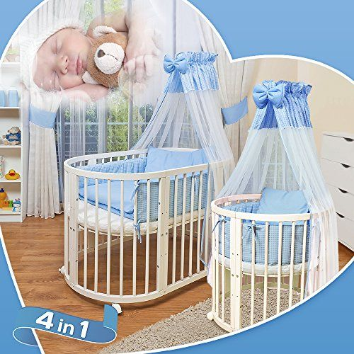 fortBaby © Kinder Baby Bett Oval 3 in 1 aus Buche