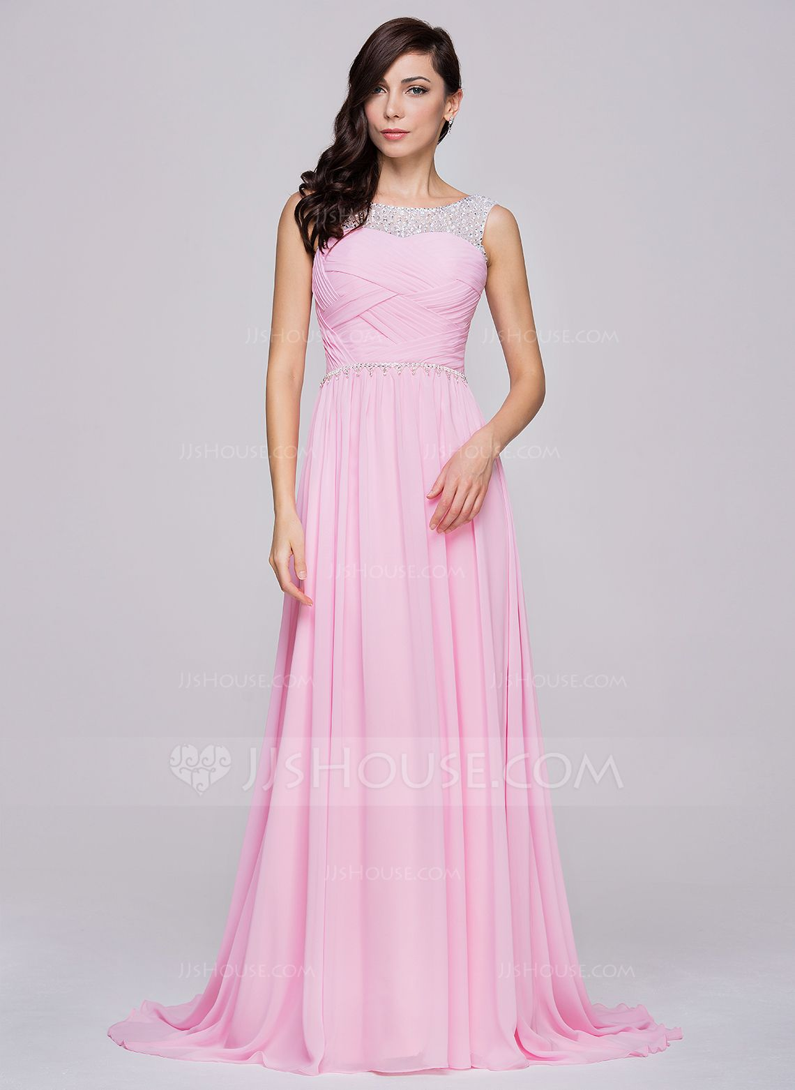 A-Line/Princess Scoop Neck Court Train Chiffon Prom Dress With ...