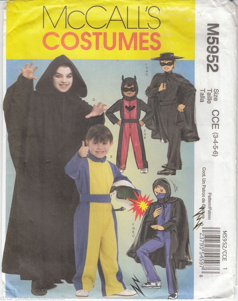 McCall/'s 5952 Boys/' Hero Costumes   Sewing Pattern