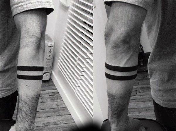 Two Solid Black Lines Armband Tattoo On Man | Tattoos ...