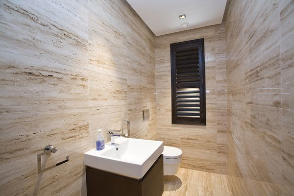 Vein Cut Travertine On The Walls And Floors Bathroom Pinterest