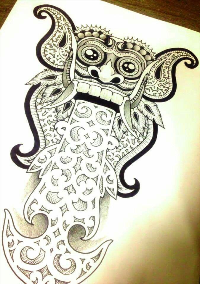 Barong Mask Balinese Mask Indonesian Mask I Made For A Tattoo Design Inspirational Tattoos Tattoos Spiritual Tattoos