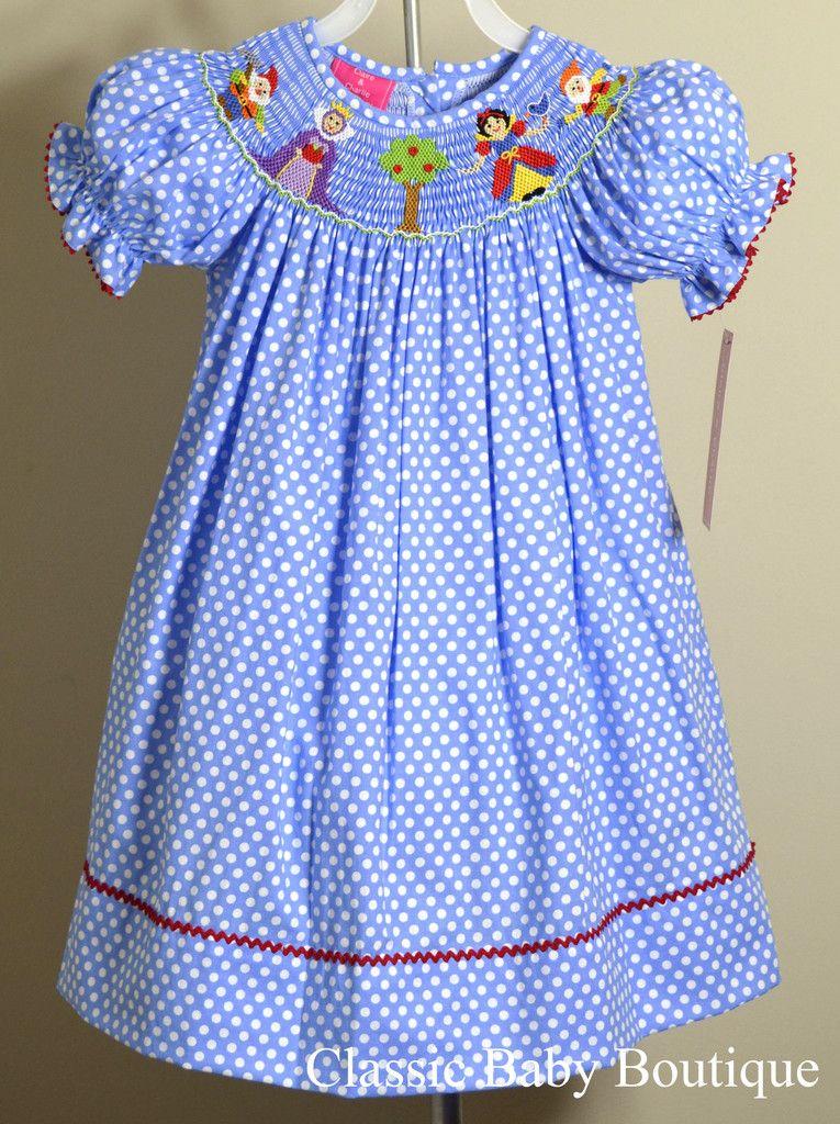 b530b6ab218 Claire   Charlie Girls Blue Dot Snow White Smocked Bishop Dress 12 18 24 M  2T 3T 4T