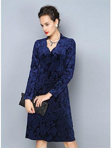 Teenloveme 2014 New Arrival Women's Elegant Floral V-neck Long Sleeves A-line Pleuche Mid Dress