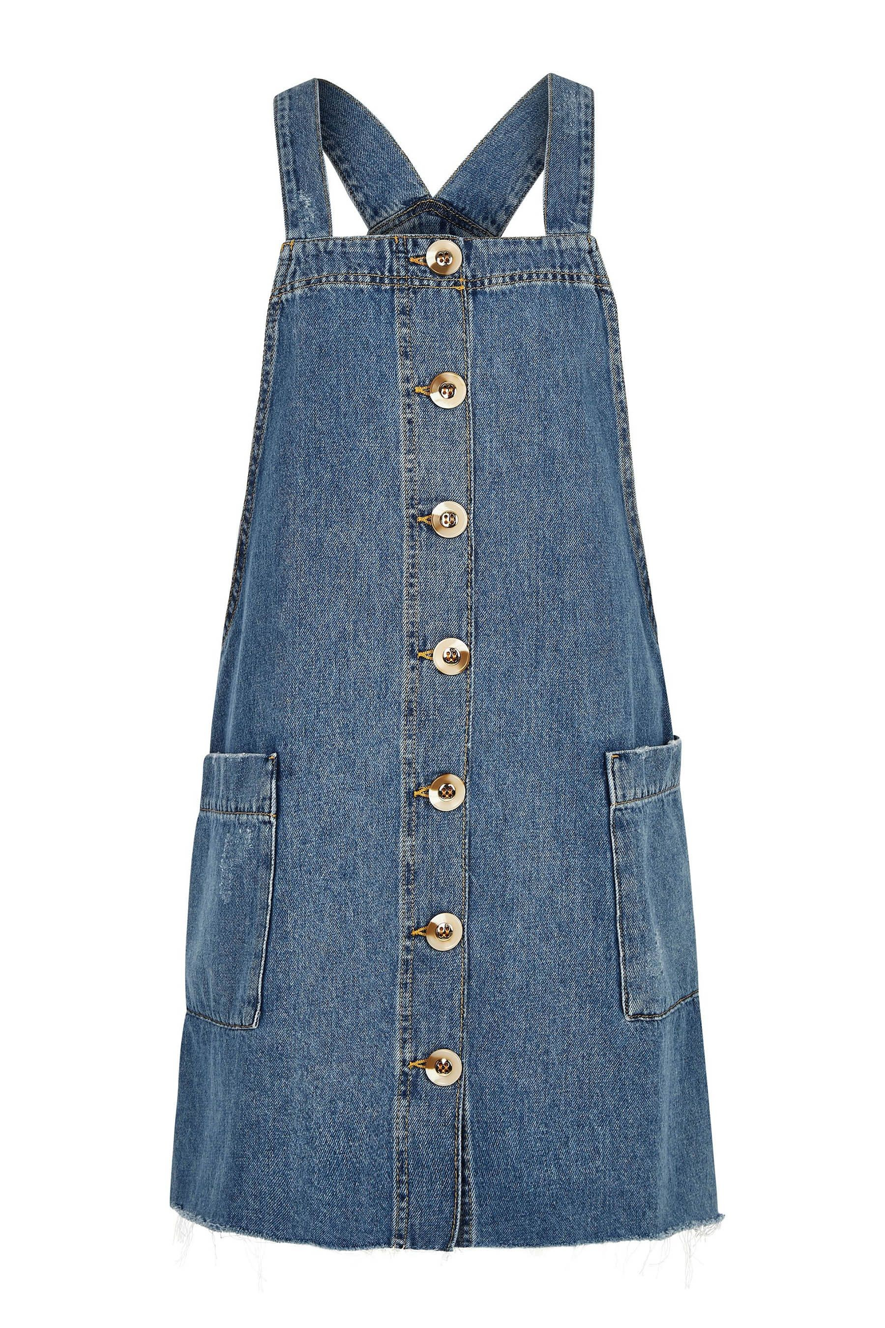419652df8e Womens River Island Light Wash Dungaree Dress - Natural in 2019 ...