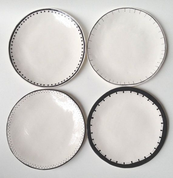 Set of 4 Dinner Plates Black u0026 White Ceramic Wabi Sabi Mix Match Table Bridal Gift Spanish Rustic Tableware Spanish Hand Built  sc 1 st  Pinterest & Set of 4 Dinner Plates Black u0026 White Ceramic Wabi Sabi Mix ...