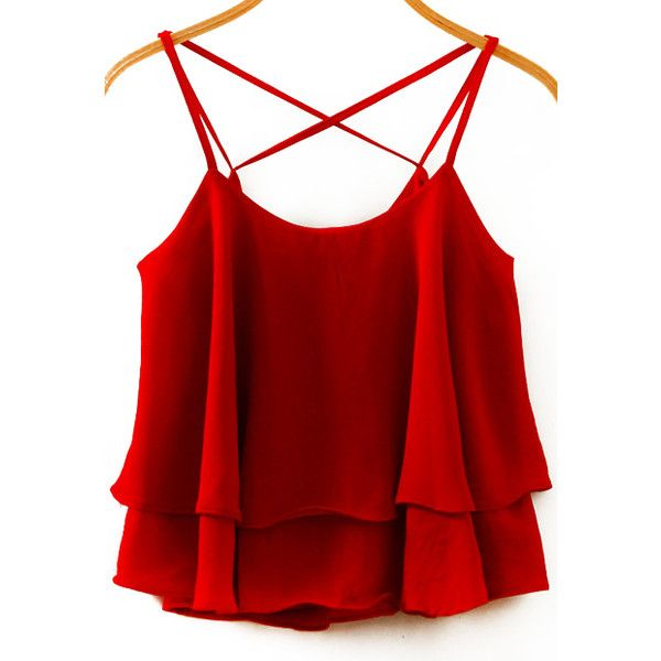 Spaghetti Strap Double Layels Chiffon Wine Red Cami Top ($8.90) ❤ liked on Polyvore featuring tops, shirts, tank tops, blusas, tanks, red, cami shirt, red spaghetti strap tank top, chiffon shirt and chiffon tank