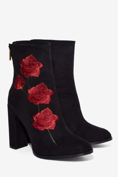 Leather With Red Rose Embroidered Details Ankle Boots Ladies Black Faux Suede