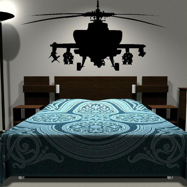 Leger Helicopter Sticker Slaapkamer Art Decal Jongens Muurstickers ...