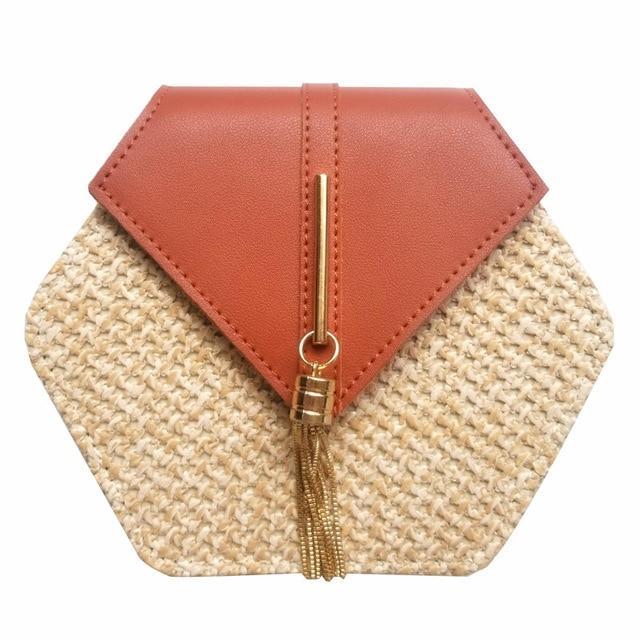 Hexa Rattan Bag  (6 Colors) – Pink