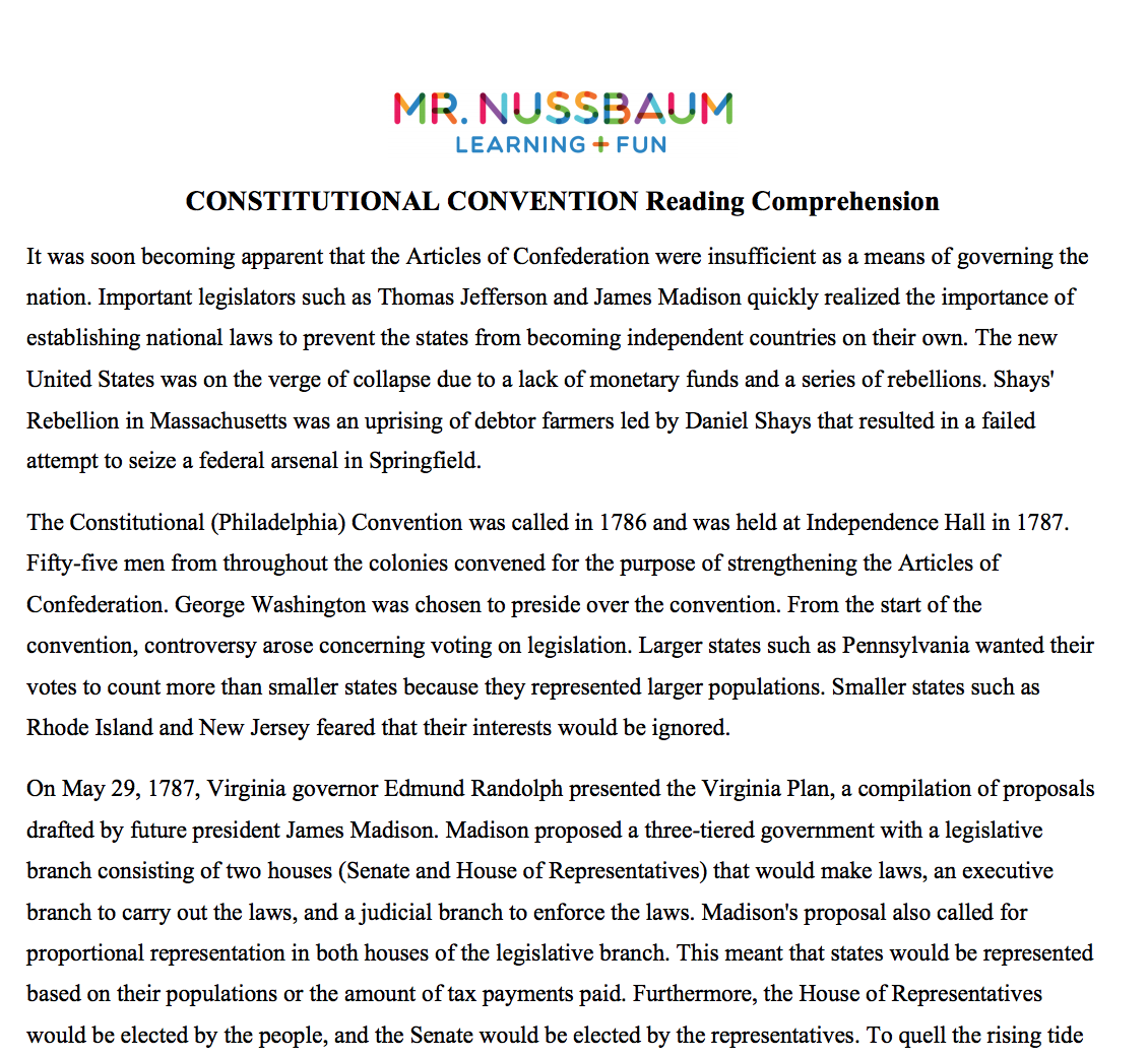 Constitutional Convention Printable Reading Comprehension