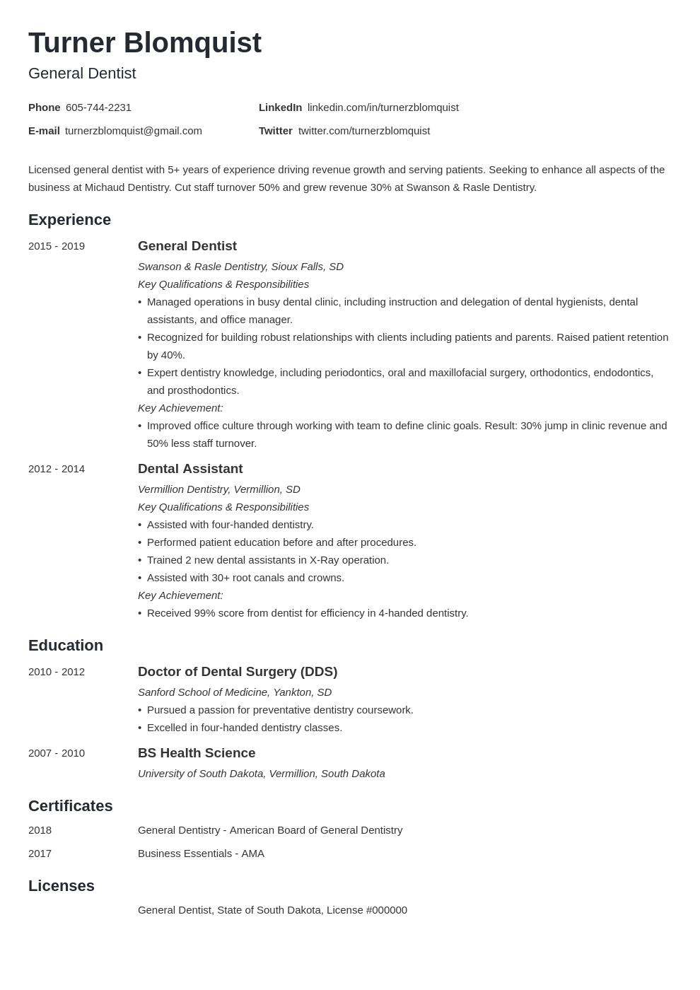 Dentist Resume Example Template Minimo Dentist Resume Resume Examples Job Resume Examples