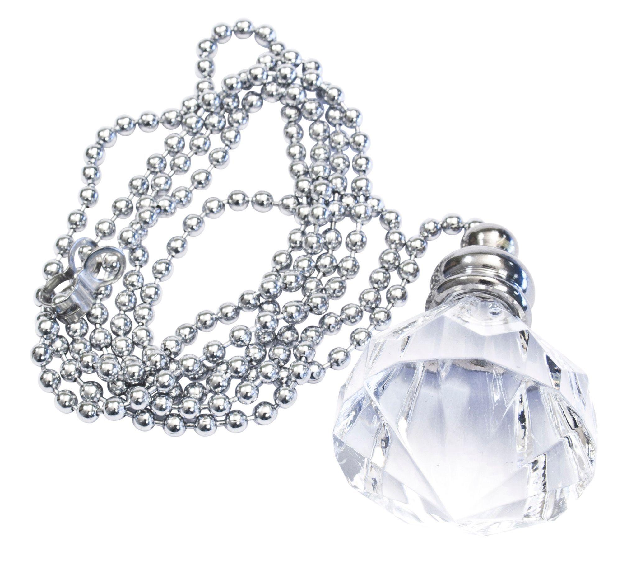 B&Q Silver Diamond Crystal Effect Acrylic Light Pull ...