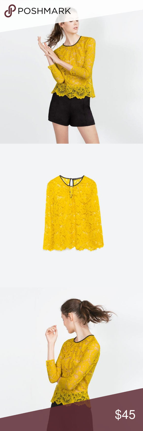 ccf06f51622a7d Zara Yellow Lace Top New Without Tags! Gorgeous! Zara Tops   My Posh ...