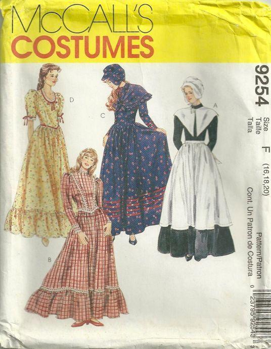 McCalls 9254 Misses Costumes Pattern Pilgrim Prairie Dresses Bonnets ...