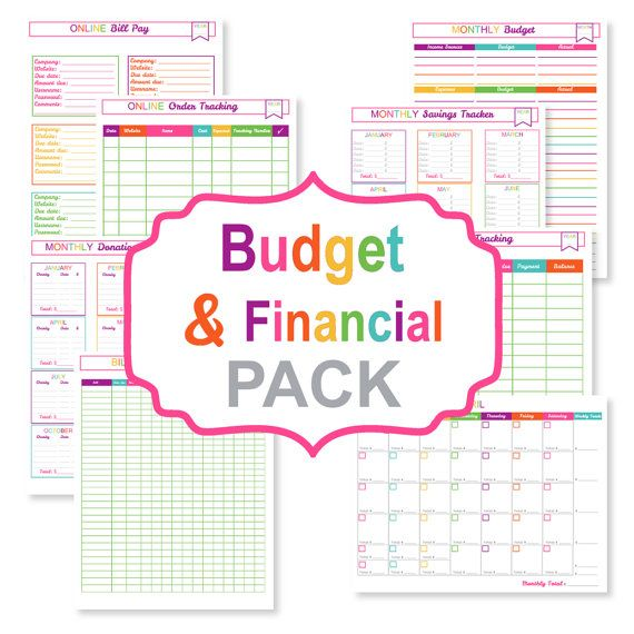 Printable budget and financial PDF package with 8 documents to help