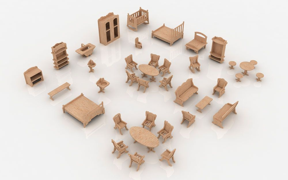 36 Pcs Mansion Furniture For Doll House Cnc Cut File