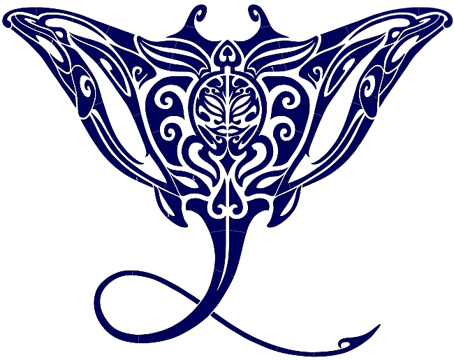 #3560 Tribal Manta Ray Blue