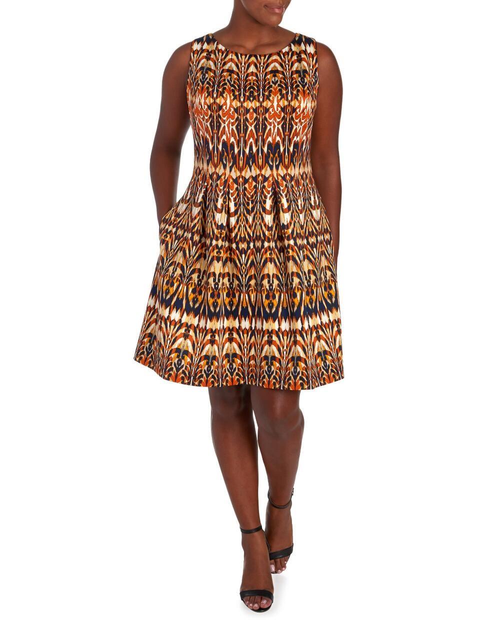 0222fe380542 Women's Plus Size Ikat Print Fit and Flare Dress-Dresses-Plus Size-Women | Stein  Mart