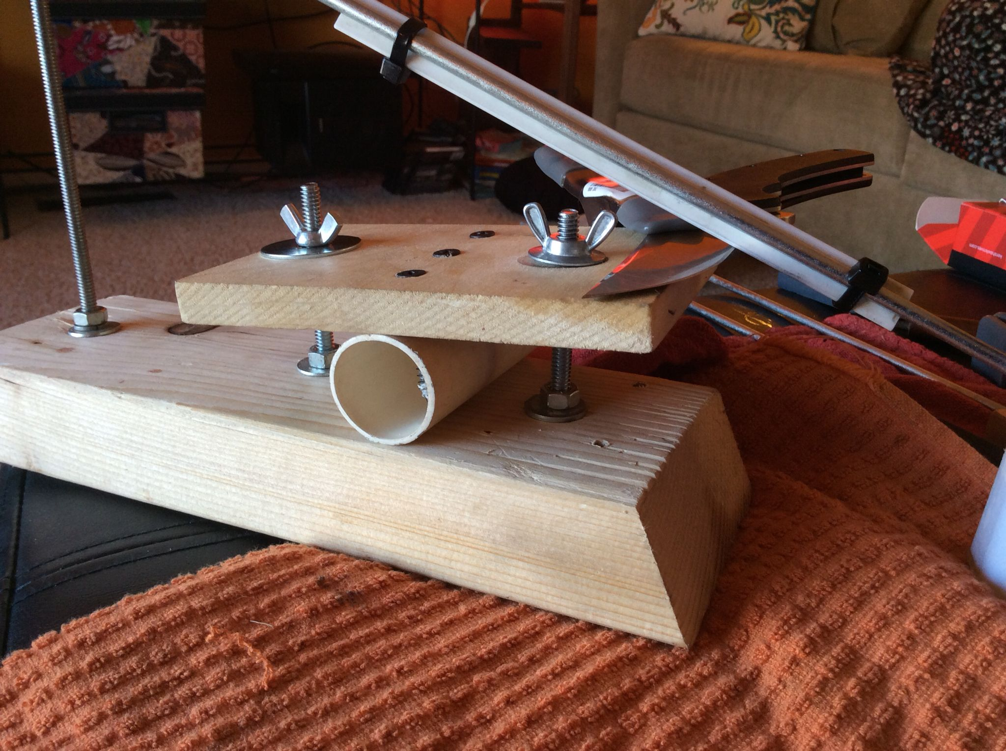 diy knife sharpening jig made from spare wood existing stones twist ties