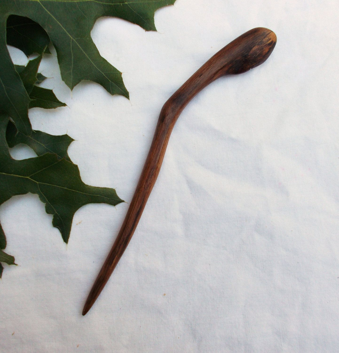 SPALTED OAK Wood Shawl stick Hair Stick Hair Pin Shawl Pin Hand carved.