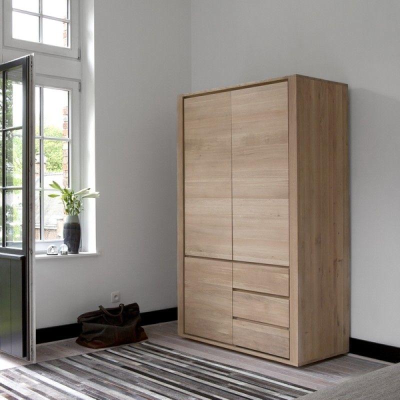 Penderie large 3 portes 2 tiroirs ch ne massif shadow ethnicraft pinterest - Penderie fait maison ...