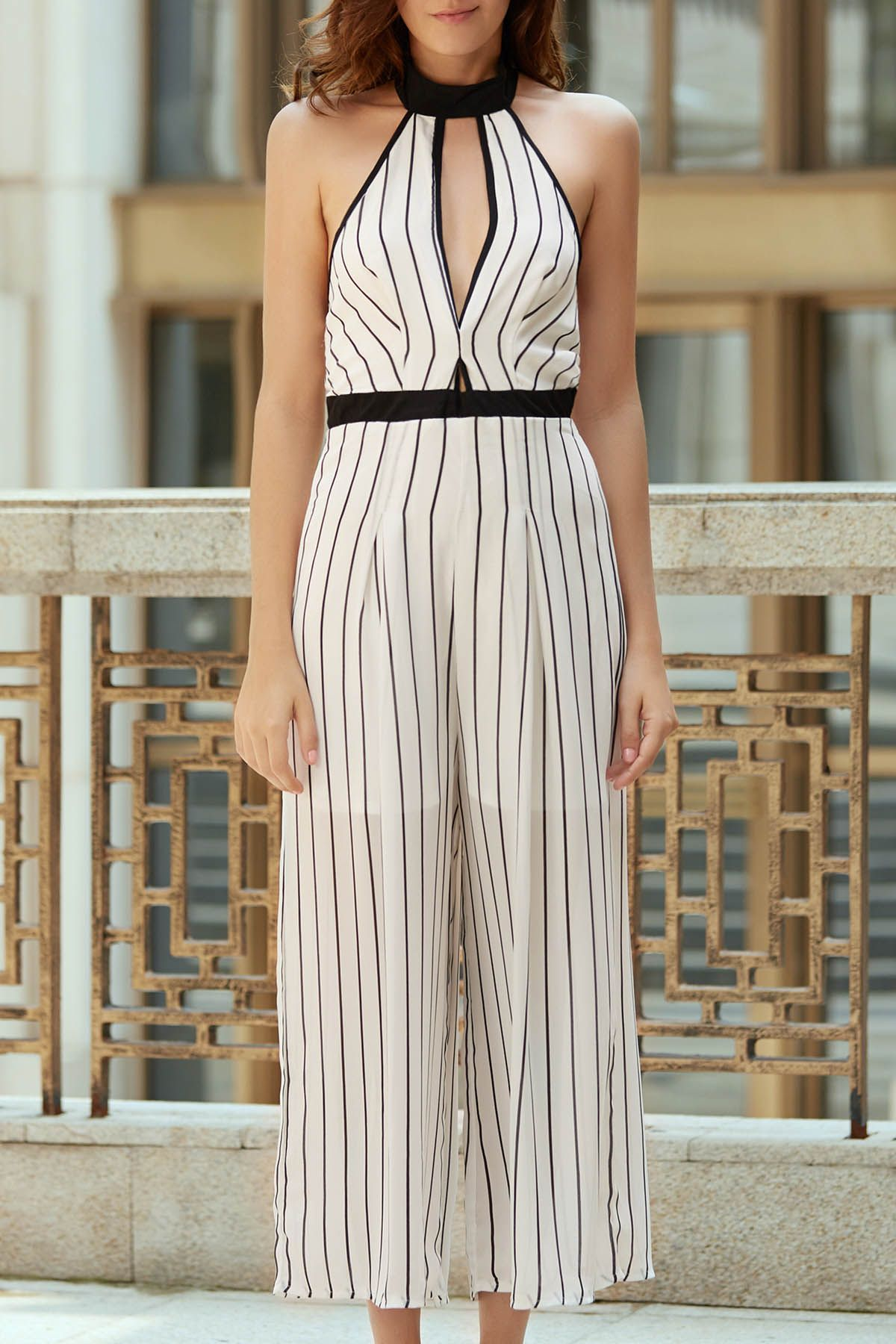 fbb6411fd065 Striped Backless Cut Out Halter Sleeveless Jumpsuit WHITE  Jumpsuits    Rompers