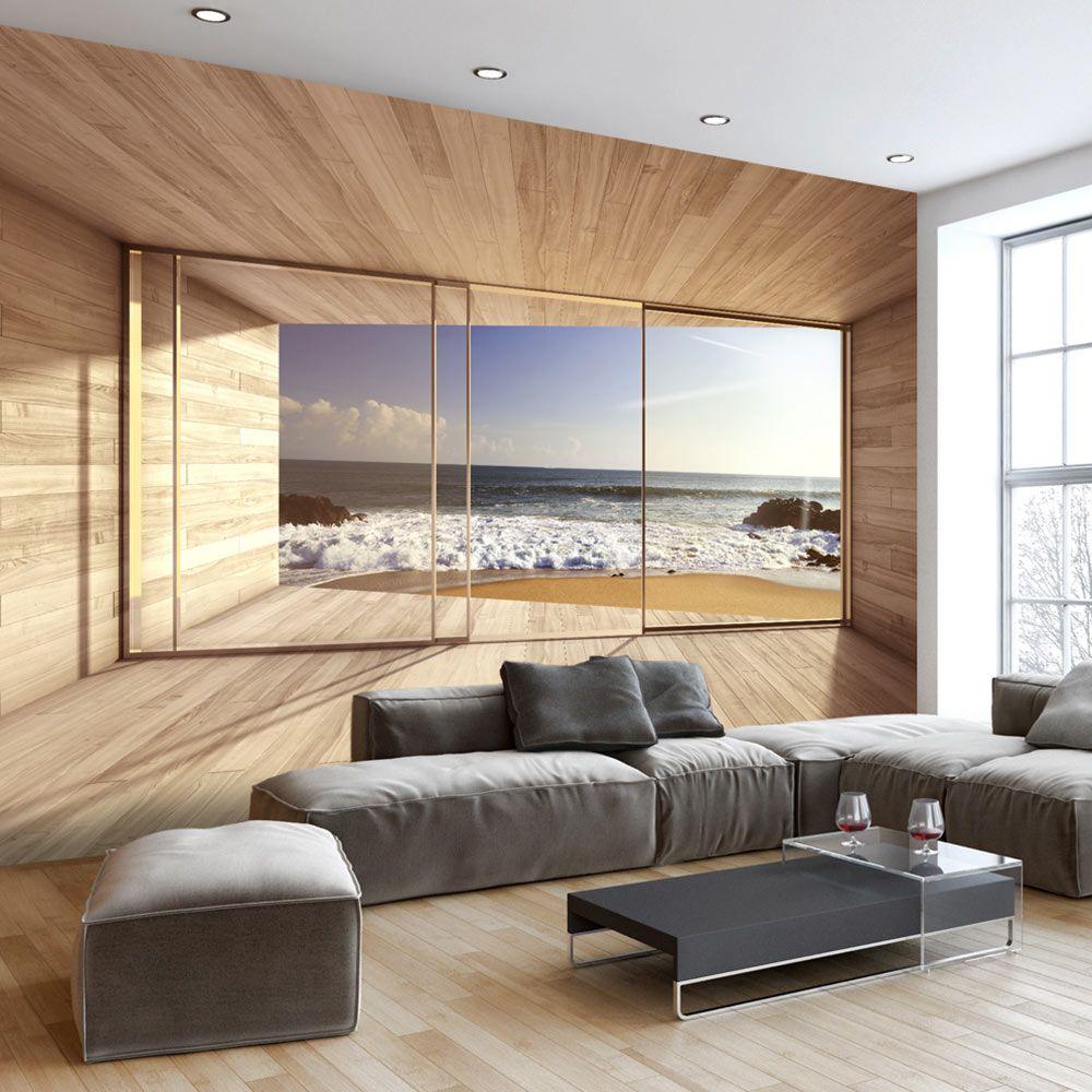 Vlies Fototapete 3D Meer und Berge Fensterblick Strand Tapete Wandtapete XXL