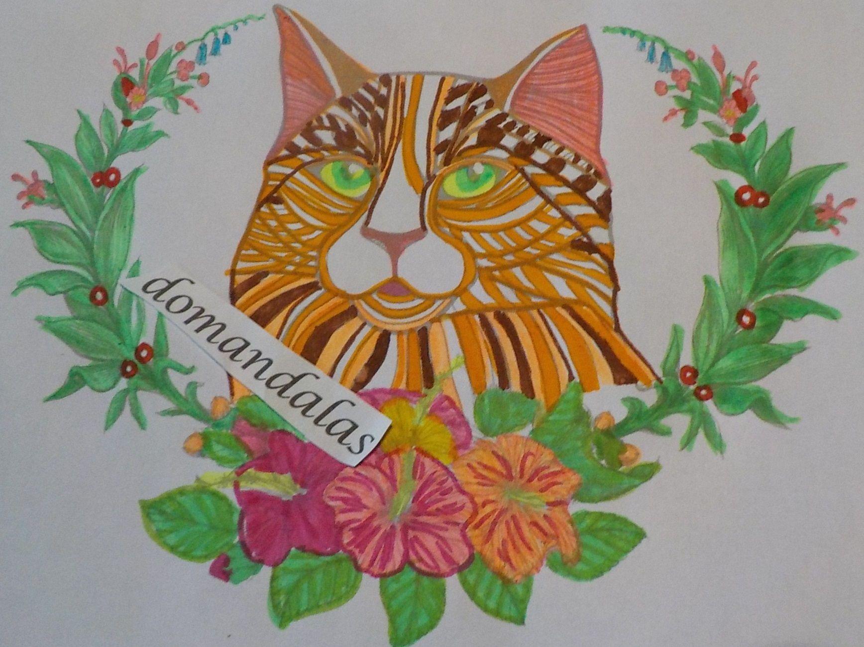 Coloriage Chat Avec Des Fleurs.Tete De Chat Dans Feuillage Et Fleurs Coloriage Realise Avec Des