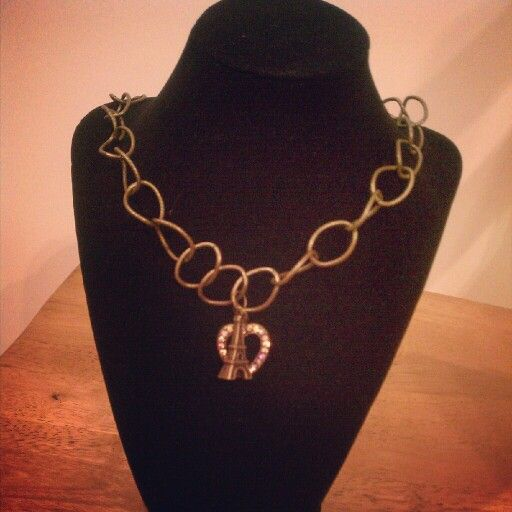 Paris nights!. .crystal heart and eiffel tower. ..on antique gold chain♥