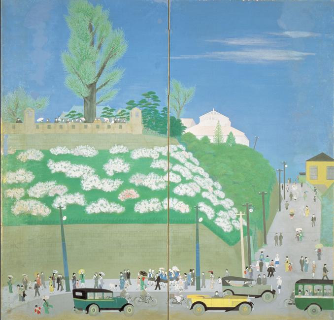 山本丘人《公園の初夏》1928年 美術館夢呂土・山本丘人記念館