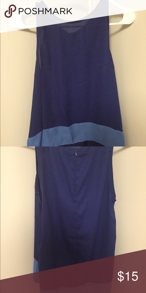 Blue Tank This tank is shorter in the front and longer in the back, making it great for leggings or jeans. Never worn without the tags. Zips in the back! Tobi Tops Tank Tops
