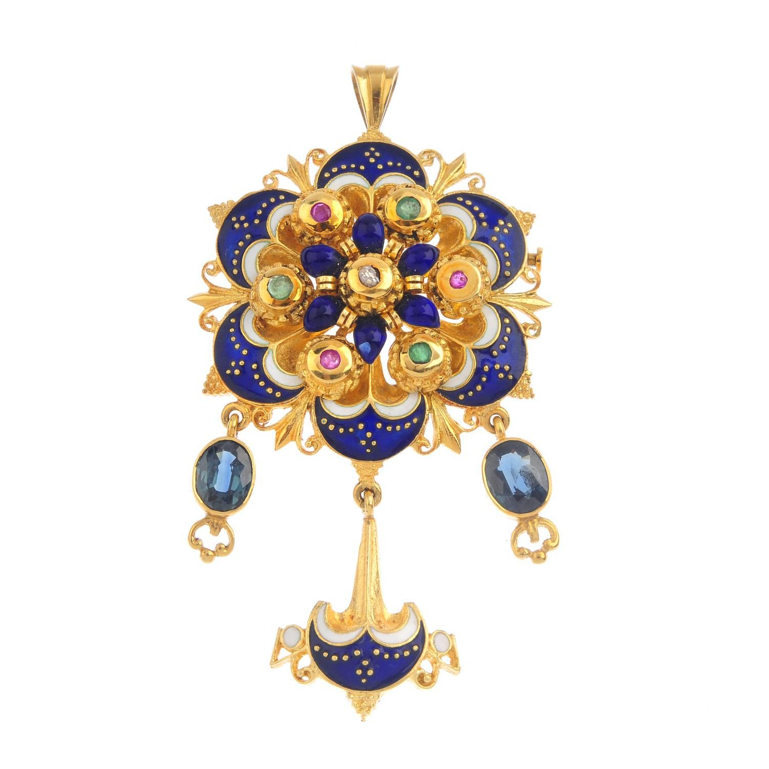 An enamel diamond and gemset pendant of stylised floral design