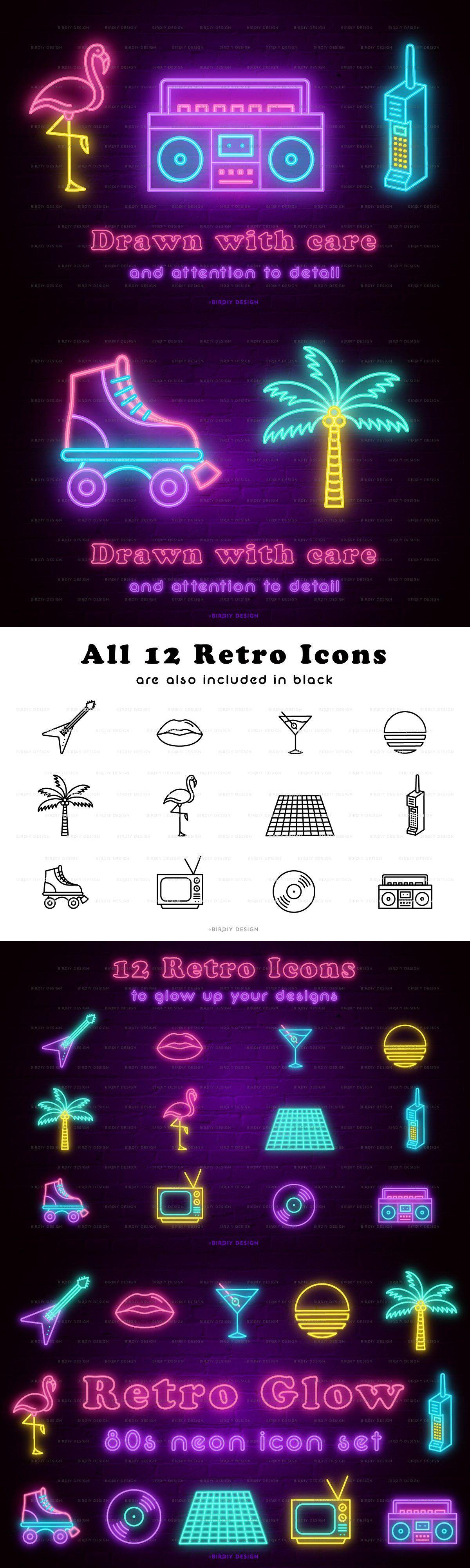 Retro Glow 80s Neon Icon Set in 2020 Icon set, 80s neon