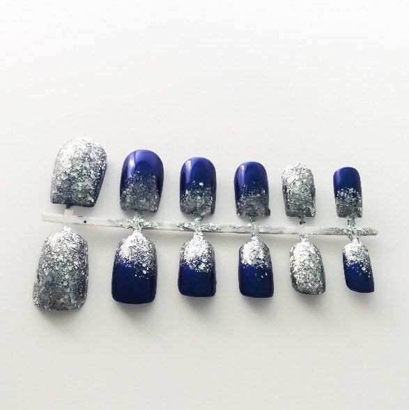Blue Fake Nails, Ombre False Nails, Glitter Acrylic Nails ...
