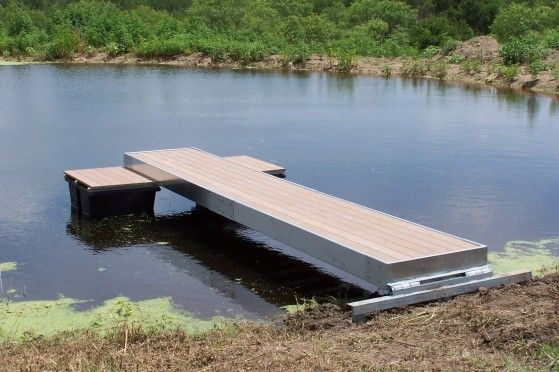 The split level t floating dock is a great addition to a for Floating fish pond