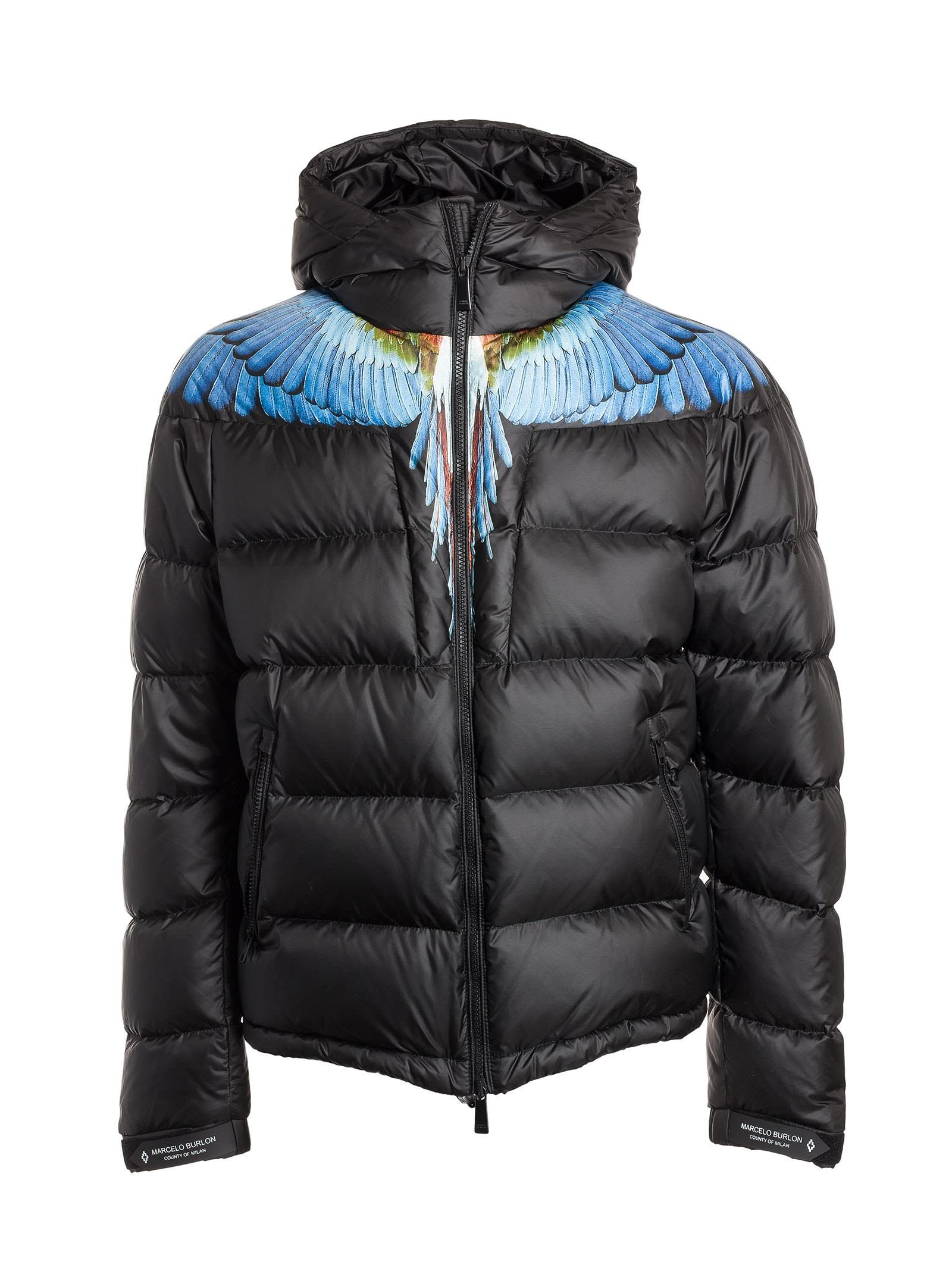 578542537 MARCELO BURLON COUNTY OF MILAN WING-PRINT QUILTED HOODED SHELL ...