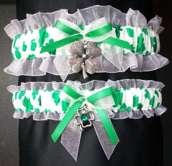 Irish Wedding Garter Set Made With Clover By CreativeGarters On Etsy