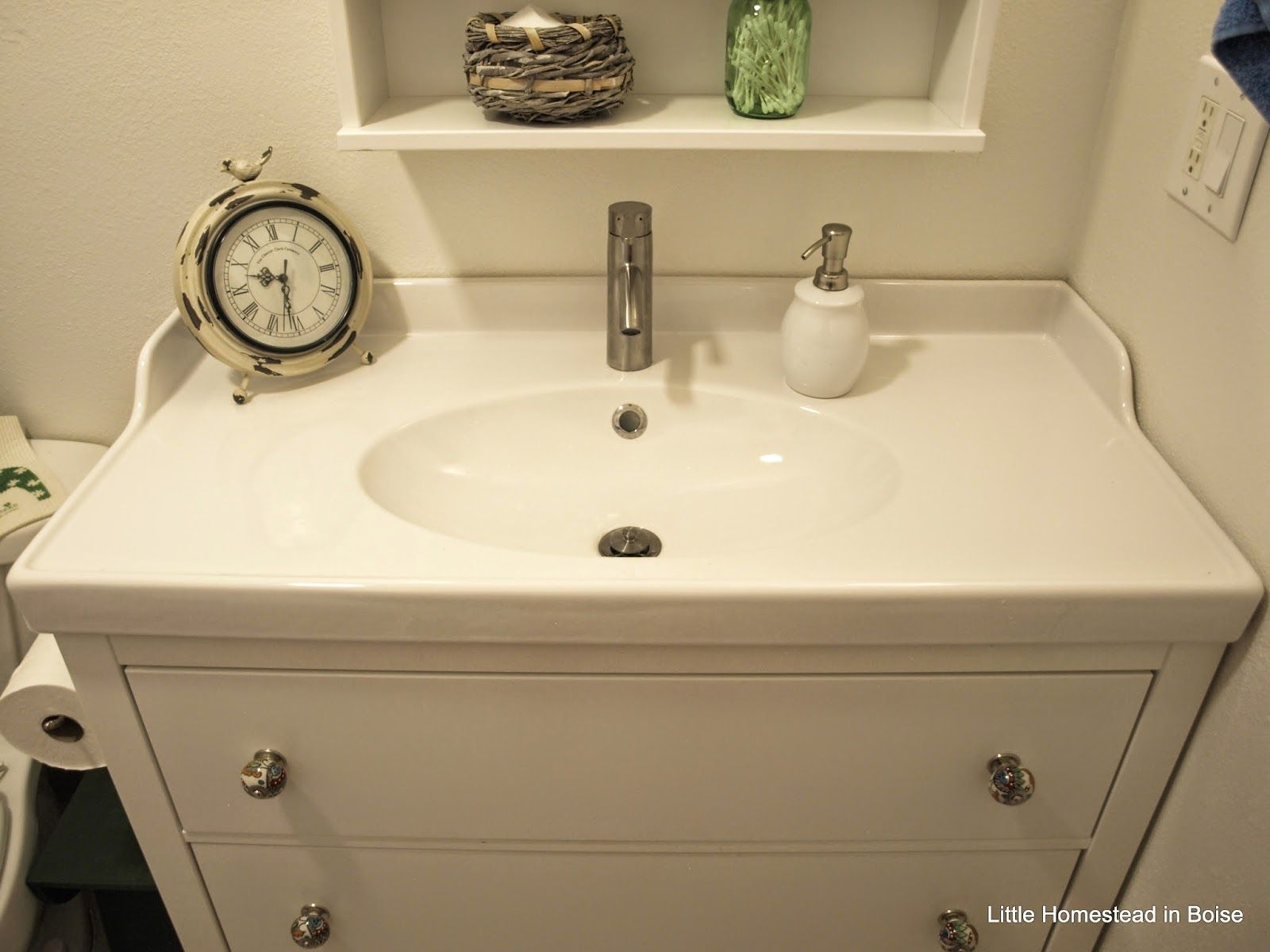 Ikea Hemnes sink cabinet bo faucet from Ikea knobs from Cost